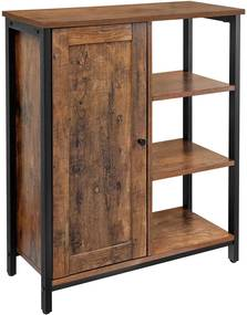 Nancy's Opbergkast - Dressoir - Kast met 3 Planken - Industrieel - Hout - Bruin - 70 x 30 x 80 cm