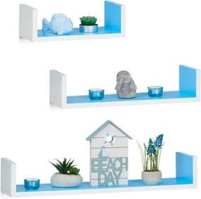 Wandplank set van 3 - boekenplank modern - wandboard U-vorm - 3 groottes - MDF wit-blauw
