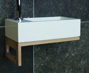 Luca Wood Iris fonteinset FP1 eiken onderstel 35cm - met kraangat - mat wit