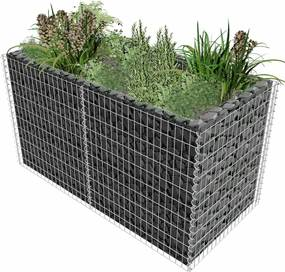 Gabion plantenbak 180x90x100 cm staal zilver