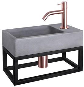 Force fonteinset met zwart frame - kraan gebogen - beton - koper