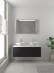 Bruynzeel Combo badmeubelset 120x45cm 2 wasbakken 4 lades met spiegel met softclose ceramic zijde zwart 123102631