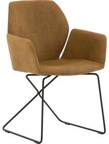 Goossens Eetkamerstoel Manzini bruin leer met arm, modern design