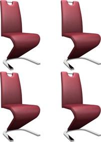 Eetkamerstoelen met zigzag-vorm 4 st kunstleer wijnrood