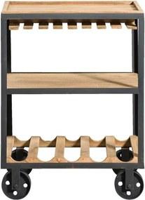 Trolley Onno - naturel/zwart - 78x59x37 cm - Leen Bakker