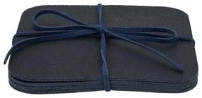 Onderzetters nepleer - blauw - set van 4