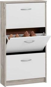 Schoenenkast met 3 kantelende vakken wit en eikenkleurig