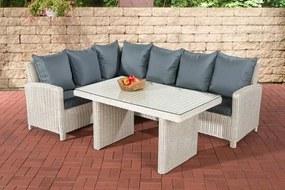 Wicker Poly rotan lounge dining set BERMEO hoekbank + eettafel 140 x 80 cm 6 plaatsen - kleur van 5 mm rotan wit overtrek ijzerachtig grijs