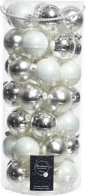 Kerstbal glas mix zilver dia6cm assortie