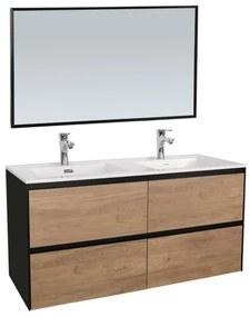 Adema Industrial Badmeubelset 120x45.5x58cm met overloop inclusief zwart aluminium frame spiegel hout/zwart Industrial-120