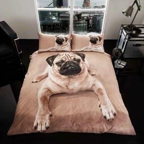 Mopshond lits jumeaux dekbedovertrek, Pug Dog dekbed 240 x 220 cm