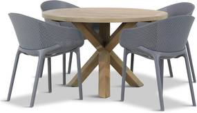 Lifestyle Sky/Sand City rond 120 cm dining tuinset 5-delig