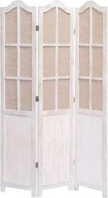 Kamerscherm met 3 panelen 105x165 cm stof wit