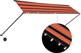 Luifel uittrekbaar met LED 400x150 cm oranje en bruin
