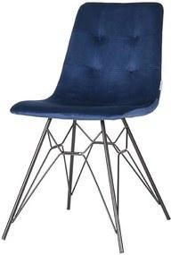 Trend Living   Eetkamerstoel Mick breedte 45 cm x hoogte 84 cm x diepte 59 cm blauw eetkamerstoelen fluweel stoelen & fauteuils   NADUVI outlet