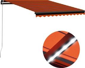 Luifel handmatig uittrekbaar met LED 300x250 cm oranje en bruin