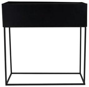 Bloembak metaal - zwart - 46x17x38 cm