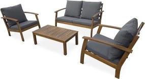 Houten loungeset 4 plaatsen - Ushuaïa - Grijs kussens, bank, fauteuils en lage tafel van acacia, design