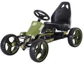 HOMdotCOM Skeltervanaf 3 jaar met pedalen en verstelbare zitting Army groen