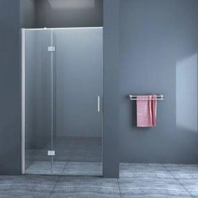 Douchedeur Nisdeur Draaideur met Vaste Wand 80(60-20)x200cm Antikalk Helder Glas Chroom Profiel 8mm Veiligheidsglas Easy Clean