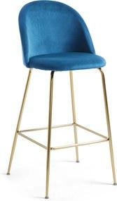 Kave Home Ivonne Fluwelen Design Barstoel Blauw