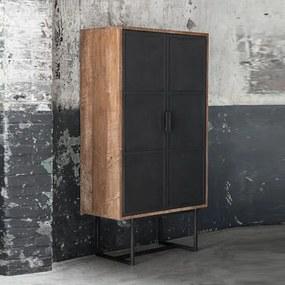 DTP Home Odeon Teak Bergkast Met Metalen Deuren - 80x40x150cm.