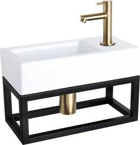 Fonteinset Differnz Ravo Rechthoek 38.5x18.5x24.5cm Keramiek Wit Handdoekrek Rechte Toiletkraan Clickwaste Sifon Geborsteld Goud