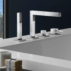 Badkraan Hotbath Bloke Inbouw Thermostatisch Vierkant Glans Chroom 2 Greeps 4 Gats met Handdouche