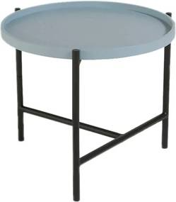 WON | Salontafel Cross diameter 50 cm x hoogte 43 cm blauw gebeitst salontafels eikenhout, staal meubels tafels | NADUVI outlet