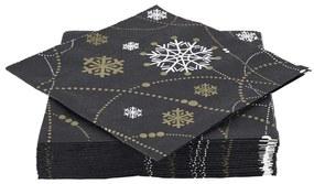 Duni servetten - necklace zwart - 12x12 cm