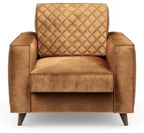 Rivièra Maison - Kendall Armchair, velvet, cognac - Kleur: bruin