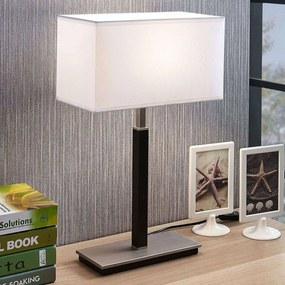 Stoffen tafellamp Belira, wit, hoekig