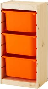 TROFAST Opbergcombinatie met bakken 44x30x91 cm grenen/oranje