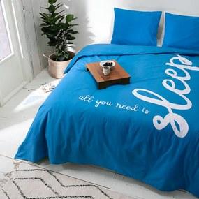 Presence All You Need Is Sleep - Blauw 1-persoons (140 x 220 cm + 1 kussensloop) Dekbedovertrek