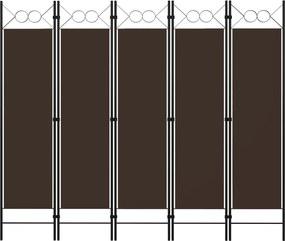 Kamerscherm met 5 panelen 200x180 cm bruin