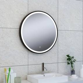 Badkamerspiegel Maro Rond 60x60cm Geintegreerde LED Verlichting Verwarming Anti Condens Touch Schakelaar Mat Zwart