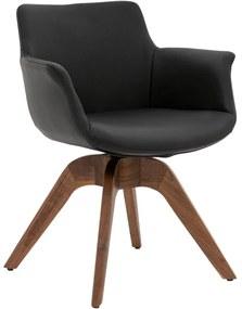 Goossens Excellent Eetkamerstoel Avignon zwart leer met draaifunctie met arm, modern design