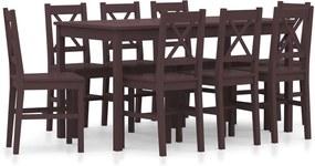 9-delige Eethoek grenenhout donkerbruin