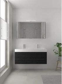 Bruynzeel Bando badmeubelset 120x45cm 2 kraangaten 2 wasbakken 2 lades met spiegelkast met softclose Composiet zwart eiken 123101960