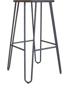 Legend Wire - Metalen barkruk - Mat zwart - 75 cm- Kruk - Metaal - RVS - H75 - Houten zitting - Industrieel - Design - Horeca - Stapelbaar