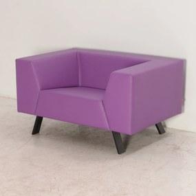 Sett fauteuil, paars leder, 68 x 122 cm