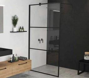 Grid Douchewand voor Walk-in 120x200 cm Helder Glas/Mat Zwart