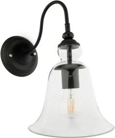 Vintage Wandlamp Zwart Met Glazen Lampenkap