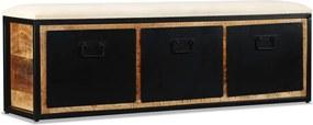 Opslagbankje met 3 lades 120x30x40 cm massief mangohout