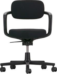 Vitra Allstar bureaustoel harde wielen voor tapijt diepzwarte armleuning nero rugleuning
