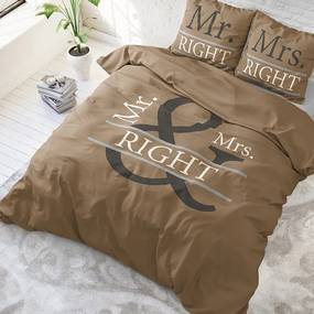 DreamHouse Bedding Mr and Mrs Right - Taupe 1-persoons (140 x 220 cm + 1 kussensloop) Dekbedovertrek