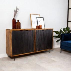 Dimehouse | Wandkast Felix breedte 160 cm x diepte 40 cm x hoogte 90 cm bruin, zwart wandkasten mangohout, metaal kasten | NADUVI outlet