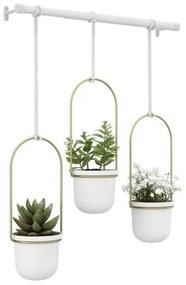 Umbra Triflora plantenhanger 64x110x15cm voor 3 planten polyester wit/goud 1011748-524