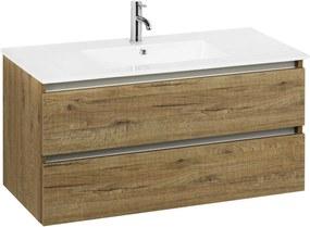 Limara badmeubel met aluminium greeplijst 100x47cm Sherwood met keramische wastafel