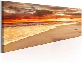 Schilderij - Prachtige zonsondergang op het strand , oranje